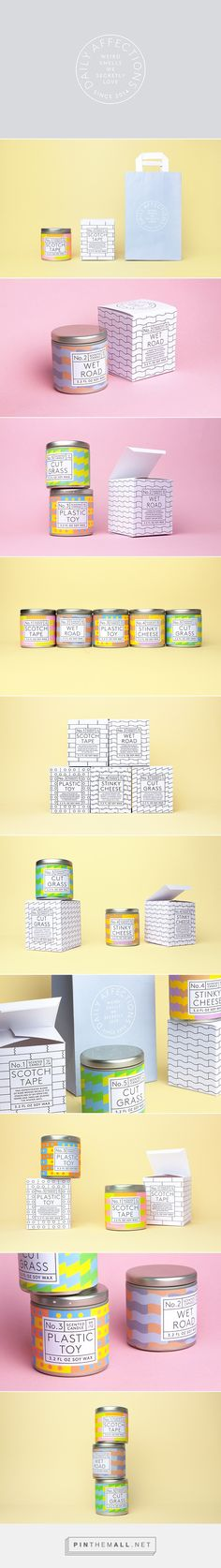 Daily Affections packaging designed by Albert J. Son PD—hehe these are so goofy! Candle Packaging, Soap Packaging, Pretty Packaging, Cosmetic Packaging, Brand Packaging, Packaging Ideas, Graphic Design Branding, Corporate Design, Label Design
