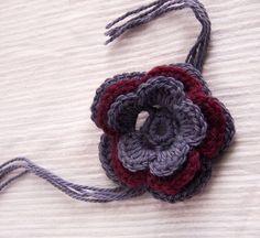 Hand Crochet Flower  Brooch Burgundy Grey by Benivision on Etsy, $9.50