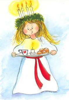 Postcrossing postcard from Finland Christmas Illustration, Cute Illustration, Christmas Art, Vintage Christmas, Swedish Christmas Traditions, Santa Lucia Day, Sainte Lucie, Little Flowers, Scandinavian Christmas