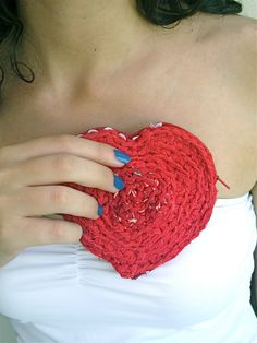 Heart Coin Purse - Love gift Hot red Fabric Crochet - recycled cotton ooak handmade - eco friendly textile zipper bag upcycled