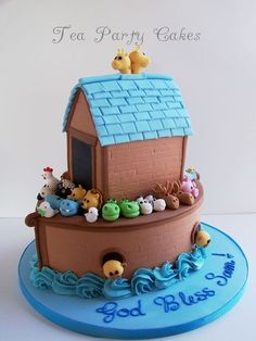 Noah's Ark Baptism Cake  Cake by Tea Party Cakes