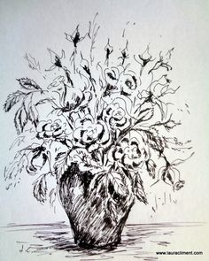 Ink roses, by LAURA CLIMENT, PAINTER Moose Art, Roses, Ink, Animals, Black, Alone Photography, Blanco Y Negro, Paintings, Fotografia