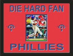 One framed 8 x 10 inch Philadelphia Phillies photo of John Mayberry, double matted in team colors to 24 x 18 inches.  Includes one baseball diamond on each side and the words DIE HARD FAN* and PHILLIES**, which are cut into the top mat and show the bottom mat color.  $109.99 @ ArtandMore.com