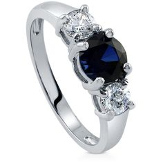 BERRICLE BERRICLE Sterling Silver Round Simulated Blue Sapphire CZ 3... ($53) ❤ liked on Polyvore featuring jewelry, rings, sapphire, women's accessories, wedding rings, 3 stone engagement rings, cz wedding rings, sterling silver band rings and fake engagement rings