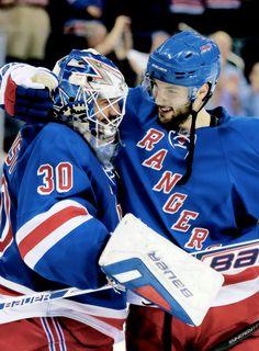 Henrik Lundqvist & Derick Brassard • New York Rangers • Source: oliverekman-larsson.tumblr.com