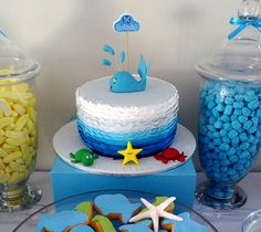 Under the Sea party. Ombre blue cake with whale (fish) topper