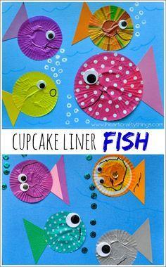 Basteln mit #Muffinförmchen - Fische
