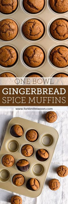 One Bowl Gingerbread Muffins - sub pumpkin for banana
