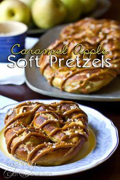 Caramel Apple Soft Pretzels Recipe | ASpicyPerspective.com #SoftPretzels #CaramelApples #FallRecipes