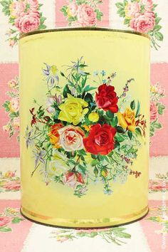 It seems like it would be fairly easy to recreate those floral designed metal trash cans Granny used to have...