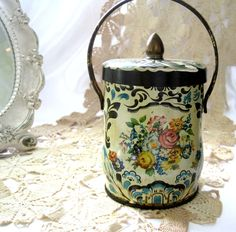 Antique Tin, Vintage Tin, Murray Allen, Candy Tin, Regal Crown, Tin Box, Post Art Deco, Gold Carry Handle, Shabby Chic, Tea Tin by SharetheLoveVintage on Etsy https://www.etsy.com/listing/197443960/antique-tin-vintage-tin-murray-allen