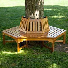 Hexagonal Outdoor Tree Bench in Weather Resistant Cedar Wood-Outdoor > Outdoor Furniture > Garden Benches-Loluxe