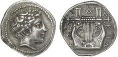 1-Macédoine - Ligue Chalcidienne (420-392) Tétradrachme - Olynthe. Av. : Tête laurée d'Apollon à droite. Rv. : Cit...