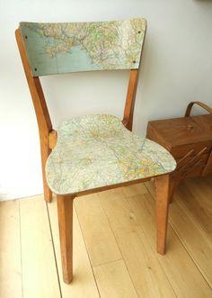 Decoupaged map chair
