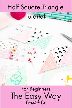 Do you know how to make half square triangles?  This super easy half square triangle tutorial will have you making tons of quilts in no time! You can also use the half square triangle chart to know what size triangles to cut.  The chart includes measurements for using your own math formula for making half square triangles.  #quilting #quiltblocks #quilttutorials #quiltblocktutorials #halfsquaretriangles