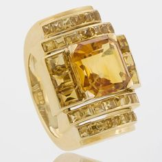 Boivin Citrine and Gold Art Deco Ring