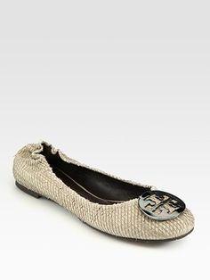 ab5f7282282 Tory Burch - Python-Print Leather Reva Ballet Flats