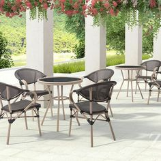 ZUO Marseilles Collection offer a casual cafe look with natural synthetic painted bamboo on sturdy aluminum frame paired with synthetic outdoor weave. Perfect for a small patio or deck or install in groups for a French Bistro look day or night! #zuomod #cafechairs #frenchbistro