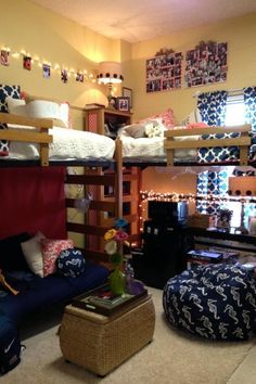 several great DIY ideas in this room! And great example of how renting one of our loft beds can give you that much needed additional space for a futon/couch...who says you can't have your own living room? (Get more info on our loft rental program on our site).