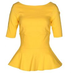 The Pretty Dress Company Women's Boston Yellow Peplum Top (1.605 CZK) ❤ liked on Polyvore featuring tops, blouses, shirts, blusas, dresses, yellow peplum shirt, peplum blouse, peplum tops, shirt blouse and peplum shirt