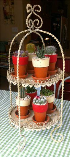 2 Tier Vintage Cake Server! <3  Cactus/Succulent