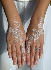 White henna-- Personally I would rather go out and get something like this done for a pampering day than nails which would then prevent me from working with my hands for the next few weeks