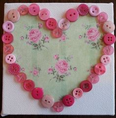 Beautiful Handmade Heart Button Canvases by LullabiesDreams, £3.00