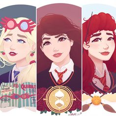 Luna Lovegood, Hermione Granger and Ginny Weasley #Harry_Potter