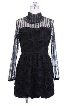 Hollow Lace Long-sleeved Ball Gown Dress Black