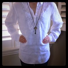 Talbots White Beach Resort Tunic Final Price-Crisp white beach tunic. Gorgeous linen with embroidered detail around bodice. Worn one time and in outstanding condition!  Size Small but will fit up to a size Medium. Measurements coming soon. No trades. Talbots Tops Tunics