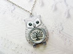 Silver Owl Necklace - The ORIGINAL Tree of Life OWL NECKLACE - Jewelry by BirdzNbeez - Christmas Wedding Birthday Bridesmaids Gift. $28.00, via Etsy.