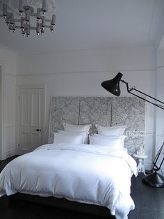 Like the bright white and the headboard idea