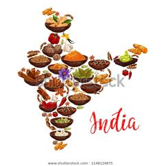 Indian cuisine spices in India map Vector design of curry, ginger and anise with masala seasonings of chili pepper and turmeric curcuma, saffron or vanilla and nutmeg , Indian Food Menu, Indian Food Recipes, Spice India, Spice Logo, Computer Wallpaper Hd, Map Vector, Vector Stock, Spices Packaging, Food Map