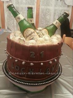 Coolest Bucket 'O' Beer Cake... This website is the Pinterest of birthday cake ideas