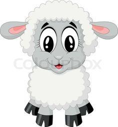 Vector of 'Vector illustration of Cute sheep cartoon' on Colourbox