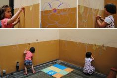 Preschool Activities – Playing with Wet Colored Chalk