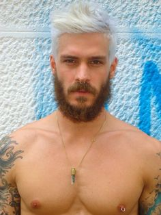 guy, full sleeve, tattoo, dyed hair, piercing