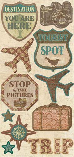 Creative Imaginations Trip & Travel Chipboard