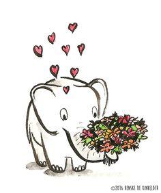 Elephant with Flowers. Ink and watercolor. Renske de Kinkelder