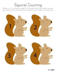 Squirrel Counting Toddler and Preschool Printable