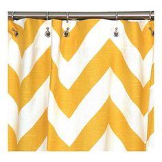 Chevron shower curtain - yellow so cute in the kids blue bathroom!!!