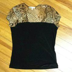 """Vintage Suze Top. Animal print sheer upper top & cap sleeve, 95% poly, 5% spandex, 24"""" long. Vintage Suzie Tops"""