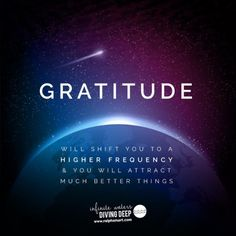 GRATITUDE will shift you to a higher frequency & you will attract much better things :)