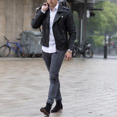 Black leather jacket and chelsea boots from asos  by @konny100 [ http://ift.tt/1f8LY65 ]
