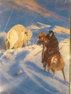 "Hermon Adams Candamar Cross Stitch Kit White Medicine Indian 16"" x 12"" Buffalo | eBay"