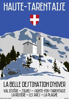 Vintage Travel Poster - Haute-Tarentaise - Belle Destination d'Hiver - Val d'Isère - Suisse/Switzerland.