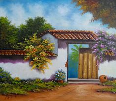 Landscape Art, Landscape Paintings, Pintura Colonial, Costa Rica Art, Colombian Art, South American Art, Caribbean Art, Z Arts, Painting Inspiration