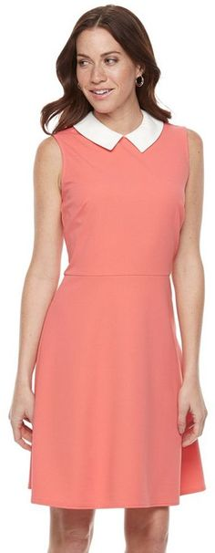 Women's Sharagano Peter Pan Collar Fit & Flare Dress