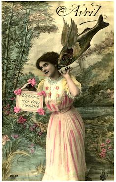 Old French Postcard – April Fool's Day