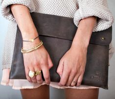 Oversized envelope clutch with an easy neutral outfit.